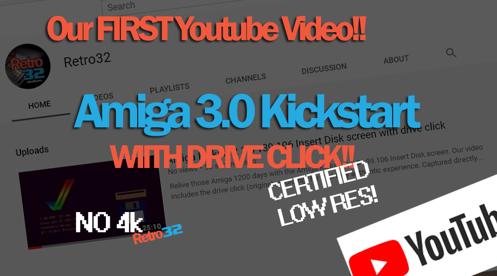 Our first YouTube Video – Amiga Kickstart 3.0 v39.106 Insert Disk screen with drive click