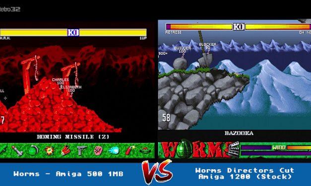 Worms (Amiga 500) Vs Worms The Directors Cut Amiga 1200 (AGA)