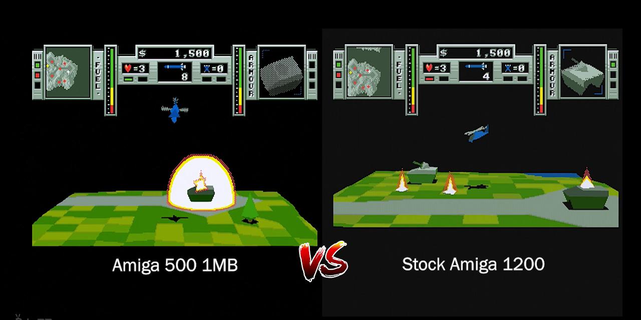 Zeewolf 2: Wild Justice – Amiga 500 vs Amiga 1200 FPS / Speed comparison