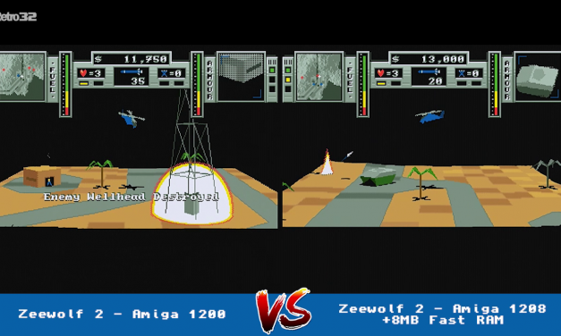Zeewolf 2: Wild Justice – Amiga 1200 vs 1208 (+8MB Fast RAM) FPS side by side comparison