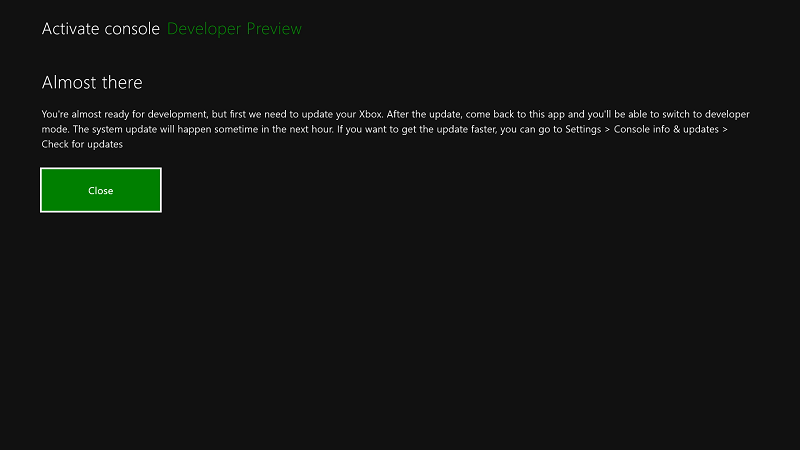 """Xbox Developer Mode – Stuck at """"Active Console – Almost there"""""""